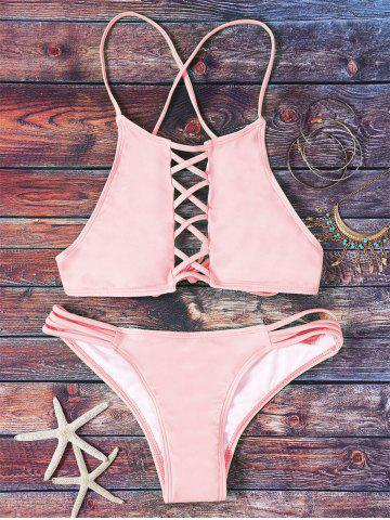 Best Halter Pink Hollow Out Bikini Set PINK L