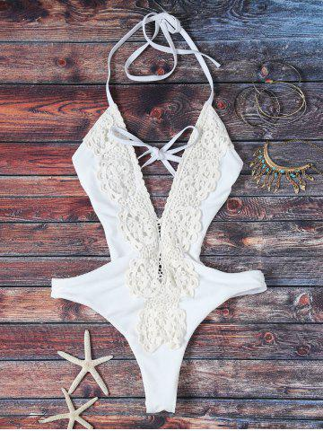 Outfit Trendy Plunging Neck High Cut Lace Spliced One Piece Swimwear For Women