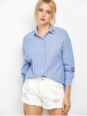 Best Oversized Embroidered Striped Chambray Work Shirt BLUE S