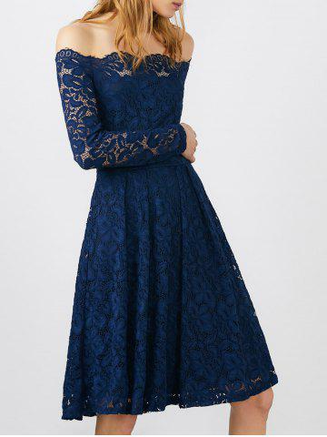 Discount Off Shoulder Lace Long Sleeve Wedding Dress BLUE S