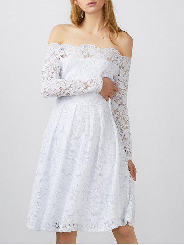Outfit Off Shoulder Lace Long Sleeve Wedding Dress WHITE L