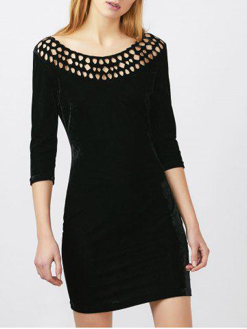 Openwork Velvet Mini Bodycon Dress - Black - L
