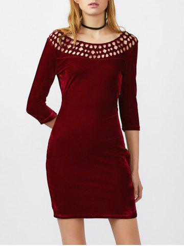 Openwork Velvet Mini Bodycon Dress - Wine Red - M