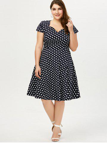 Affordable Polka Dot Cap Sleeve Plus Size Dress - 4XL DEEP BLUE Mobile