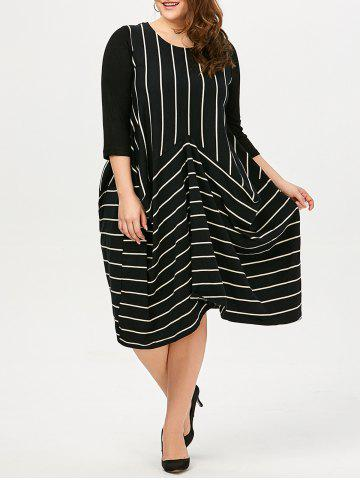 Fancy Stripe Asymmetric Plus Size Casual Dress - XL STRIPE Mobile