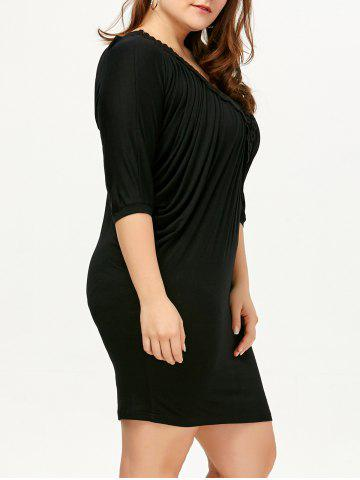 Fancy V Neck Ruched Plus Size Dress - 4XL BLACK Mobile