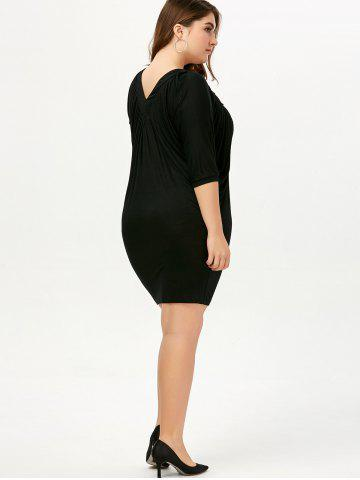 Sale V Neck Ruched Plus Size Dress - 4XL BLACK Mobile