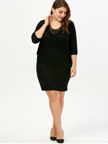 Trendy V Neck Ruched Plus Size Dress - 4XL BLACK Mobile