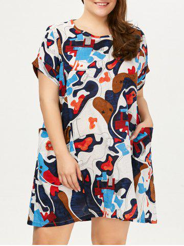 Shop Plus Size Colored Baggy Dress  With Pockets - ONE SIZE FLORAL Mobile