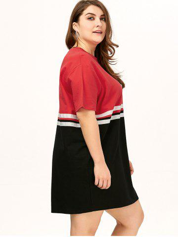 Discount Plus Size Color Block Crew Neck Tee Dress - ONE SIZE RED Mobile