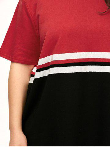 Trendy Plus Size Color Block Crew Neck Tee Dress - ONE SIZE RED Mobile