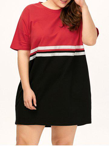 Sale Plus Size Color Block Crew Neck Tee Dress - ONE SIZE RED Mobile