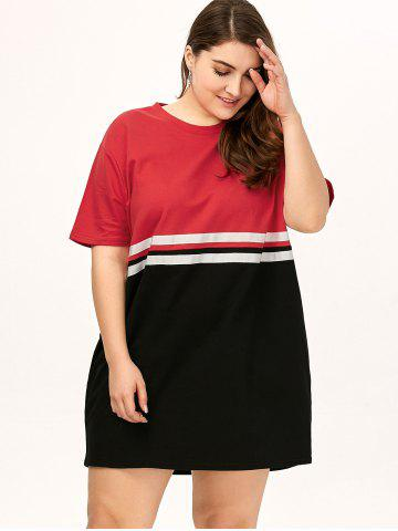 Chic Plus Size Color Block Crew Neck Tee Dress - ONE SIZE RED Mobile