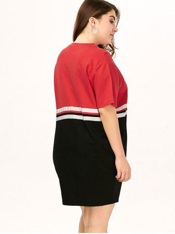 Affordable Plus Size Color Block Crew Neck Tee Dress - ONE SIZE RED Mobile