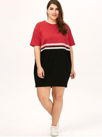 New Plus Size Color Block Crew Neck Tee Dress - ONE SIZE RED Mobile