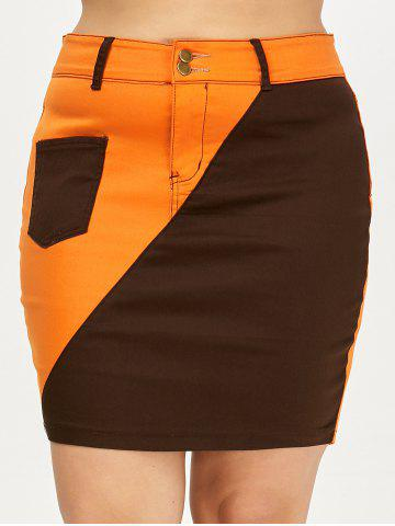 Affordable Color Block Mini Plus Size Skirt - XL BLACK AND ORANGE Mobile