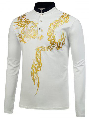 Fashion Dragon Print Long Sleeve Shirt - M WHITE Mobile
