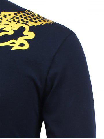 Store Dragon Print Long Sleeve Shirt - 2XL SAPPHIRE BLUE Mobile
