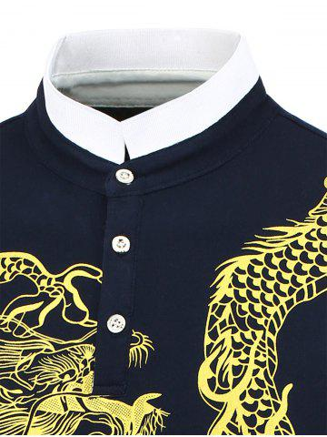 New Dragon Print Long Sleeve Shirt - 2XL SAPPHIRE BLUE Mobile