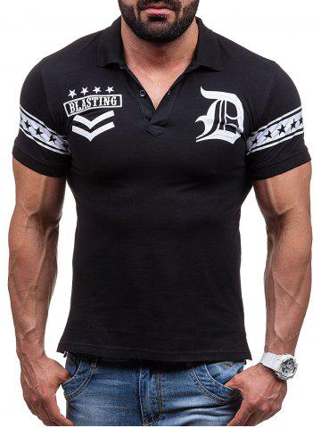 Online Graphic and Stars Print Short Sleeve Polo T-Shirt BLACK XL