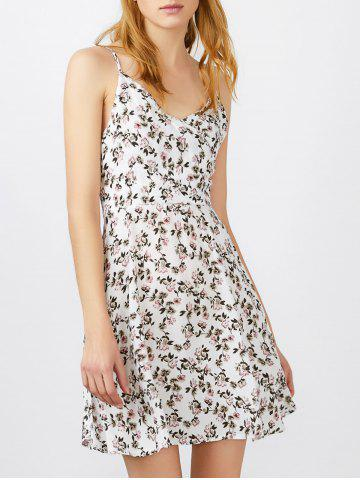 Discount Spaghetti Strap Tiny Floral Print Mini Sundress WHITE L