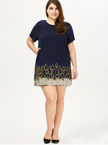 Affordable Plus Size Linen Embroidery Mini Dress - ONE SIZE DEEP BLUE Mobile
