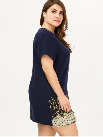 Chic Plus Size Linen Embroidery Mini Dress - ONE SIZE DEEP BLUE Mobile