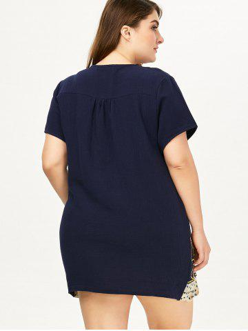Discount Plus Size Linen Embroidery Mini Dress - ONE SIZE DEEP BLUE Mobile