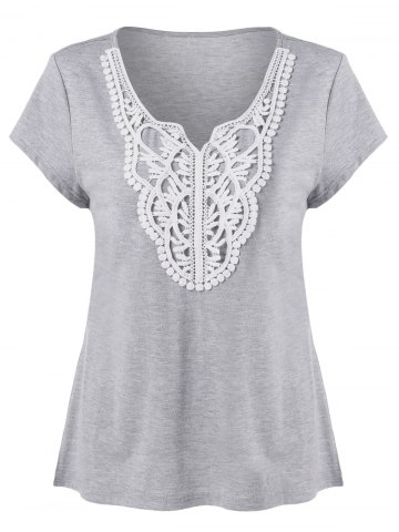 Discount Plus Size Crochet Applique T-Shirt LIGHT GREY XL