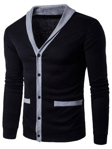Col en V unique poitrine Knit Blends Cardigan Noir S