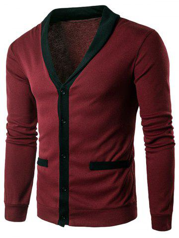 V Neck Single Breasted Knit Blends Cardigan - Wine Red - 2xl