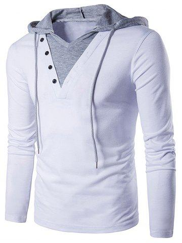 Fashion Color Block Panel Hooded Long Sleeve T-Shirt - S WHITE Mobile