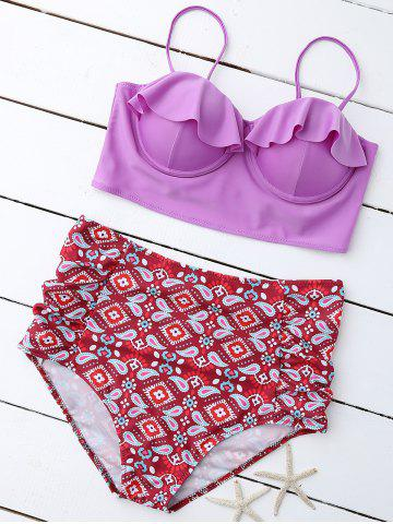 Store Print Padded High Waist Plus Size Bathing Suits