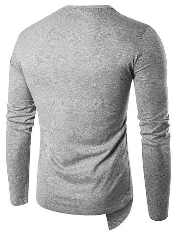 Outfit Oblique Zip Up Design Long Sleeve T-Shirt - S GRAY Mobile