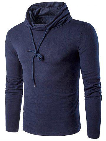 Outfits Cowl Neck Drawstring Long Sleeve T-Shirt - L CADETBLUE Mobile