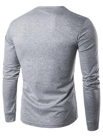 Discount Crew Neck Buttons Panel Long Sleeve T-Shirt - S LIGHT GRAY Mobile