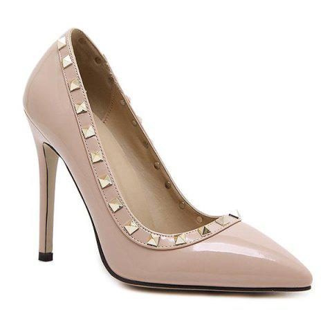 Best Metal Rivets Pointed Toe Pumps APRICOT 37