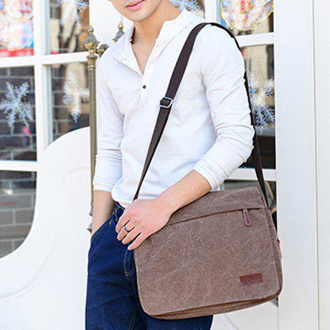 Outfits Casual Flap Canvas Messenger Bag - DEEP BROWN  Mobile