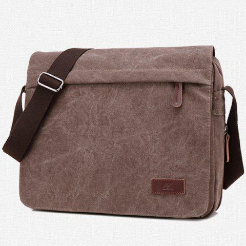 New Casual Flap Canvas Messenger Bag - DEEP BROWN  Mobile