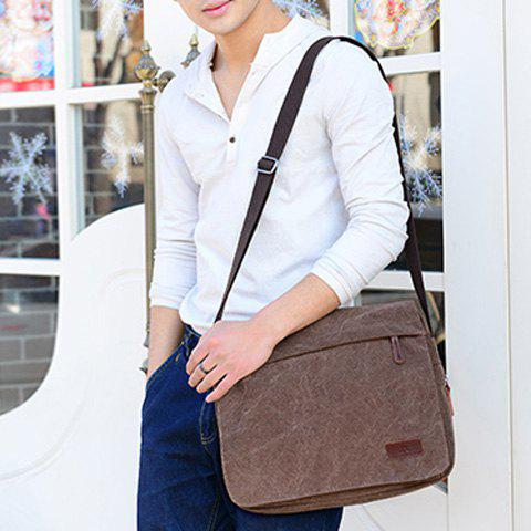 Discount Casual Flap Canvas Messenger Bag - DEEP BROWN  Mobile