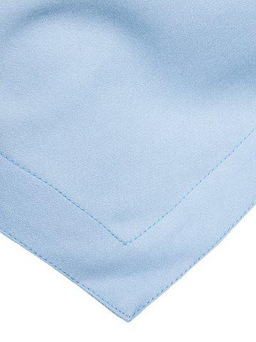 Fashion Oblique Button Embroidered Long Sleeve Shirt - M LIGHT BLUE Mobile