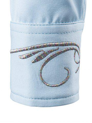Outfits Oblique Button Embroidered Long Sleeve Shirt - M LIGHT BLUE Mobile