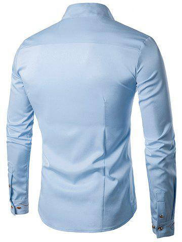 Online Oblique Button Embroidered Long Sleeve Shirt - LIGHT BLUE XL Mobile