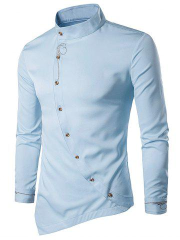 Online Oblique Button Embroidered Long Sleeve Shirt - LIGHT BLUE 2XL Mobile