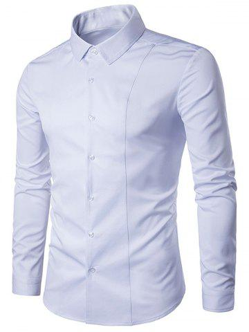 Online Turndown Collar Long Sleeve Slimming Shirt - WHITE L Mobile