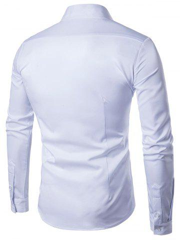 Hot Turndown Collar Long Sleeve Slimming Shirt - WHITE 2XL Mobile