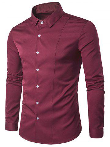 Unique Turndown Collar Long Sleeve Slimming Shirt - RED M Mobile