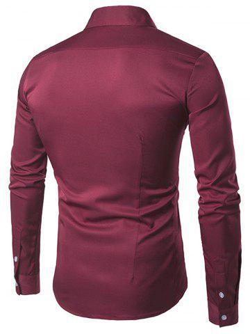 Shops Turndown Collar Long Sleeve Slimming Shirt - RED S Mobile