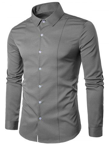 Turndown Collar Long Sleeve Slimming Shirt - Gray - S