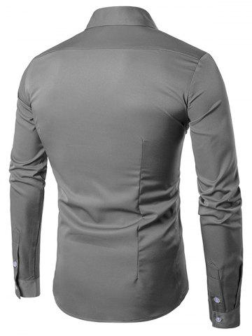 Trendy Turndown Collar Long Sleeve Slimming Shirt - GRAY L Mobile